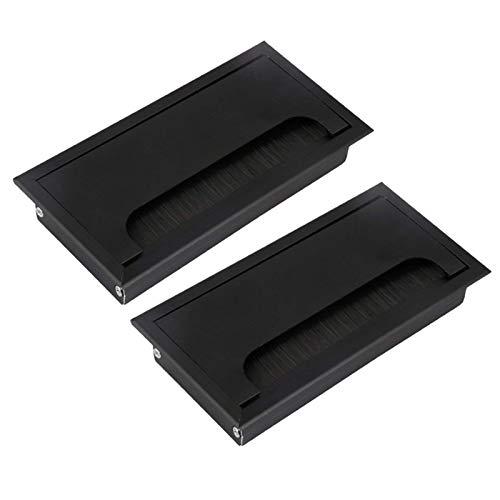 HWNGDI Aleación de aluminio negro L de 160 mm Escritorio de mesa Rectángulo Cable de cable Outleto Outlet Outlet Puerto con cepillo negro Mantener ordenado (Specification : 4pcs)