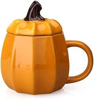 10 oz Creative Design Adorable Pumpkin Shaped Orange Ceramic Coffee Milk Mug with Matching Lid Tea Mugs Drinking Cup Perfect Birthday Present for Parent Friend Boy Girl