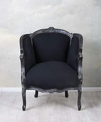 Armlehnsessel Rokoko Stuhl schwarz Armlehnsessel Barocksessel Polstersessel cat664i49 Palazzo Exklusiv