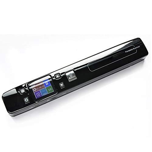 Portable Scanner Mini escáner de Documentos e imágenes Tamaño A4 JPG/PDF Formato WiFi 1050DPI Pantalla LCD portátil de Alta Velocidad para Recibos comerciales,BlackwithWifi