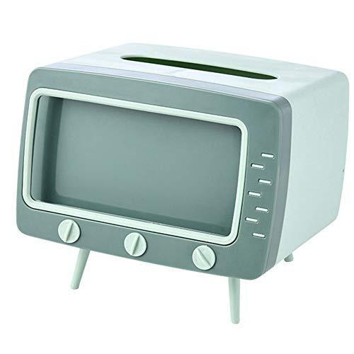 roudery ティッシュケース ティッシュボックス 可愛い 復古 テレビ型 リモコンラック スマホースタンド スマホーホルダー 多機能 ティッシュカバー リビング 寝室 部屋 オフィス(グリーン)
