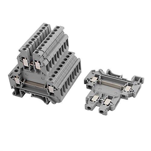 Aexit 10Pcs UKK3 Bloque de terminales de doble nivel para montaje en riel DIN 300V (model: O1753IIIVII-2126PT) 25A 28-10AWG Gris