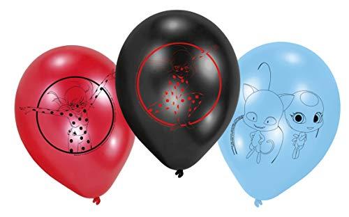 Amscan 9902881 Miraculous - Globos de látex (6 unidades), color azul, rojo y negro , color/modelo surtido