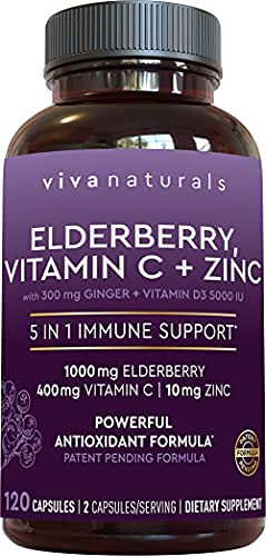 Viva Naturals Elderberry, Vitamin C, Zinc, Vitamin D 5000 IU & Ginger - Antioxidant & Immune Support Supplement, 2 Month Supply (120 Capsules) - 5 in 1 Daily Immune Support for Adults