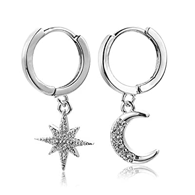 Crystal Moon Star Dangle Hoop Earrings for Women,Small Silver Trendy Adorable Earrings Hoops with Charm for Girls, Gift for Valentine's Day and Mother's Day