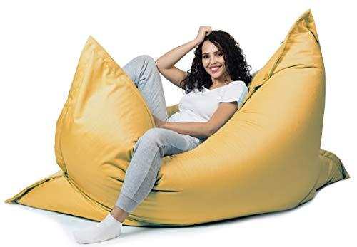 sunnypillow XXL Sitzsack, Riesensitzsack Outdoor & Indoor 180 x 145 cm mit 380L Styropor Füllung Sessel für Kinder & Erwachsene Sitzkissen Sofa Beanbag viele Farben und Größen zur Auswahl Gelb