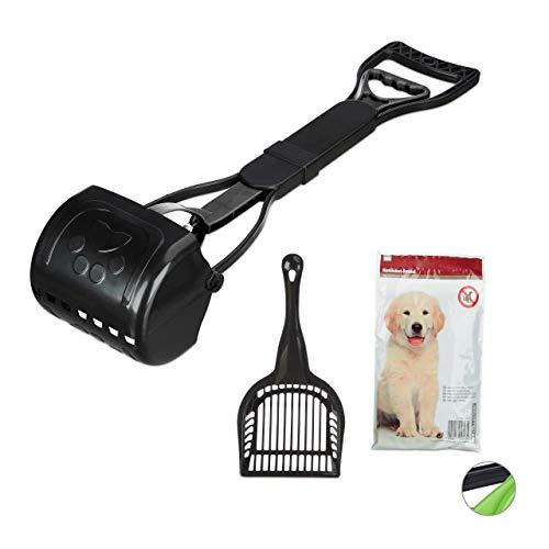 Relaxdays Kotgreifer Hunde, inklusive 40 Hundekotbeutel, einfach & hygienisch, Kotaufheber, 60 cm lang, schwarz