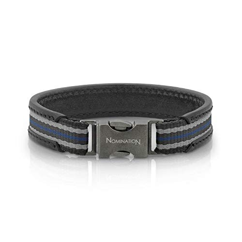 Nomination Large Black Leather Cruise Bracelet for Men with Black Gray Black Blue Cotton