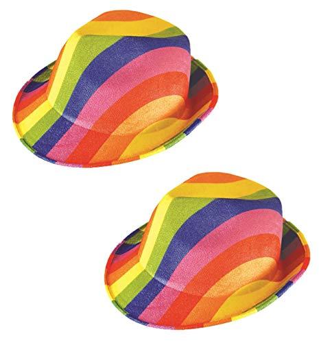 HENBRANDT 2 x Gay Pride Colorido Arco Iris Fantasa Gngster Sombrero Carnaval Verano Festival Cap