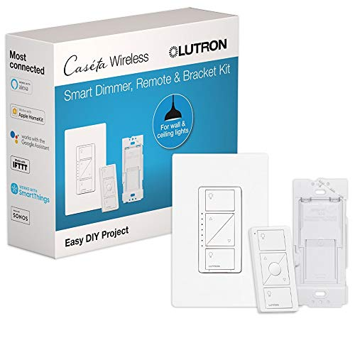 Lutron Caseta Smart Home Dimmer Switch and Pico Remote Kit Works with Alexa Apple HomeKit and the Google Assistant | PPKG1WBWH | White