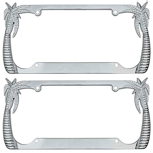 Heavy Duty Rust-Proof Stainless Steel Metal Chrome Tropical Palm Tree License Plate Frame Universal Fit for Car Truck SUV (Pack of 2)