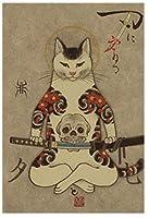 ヴィンテージウォールアートレトロアニメポスター日本の侍猫キャンバス絵画タトゥー動物ポスタープリントモダンな家の装飾壁の写真40x60cmフレームなし