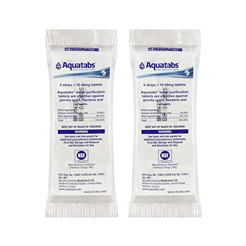 Aquatabs - World's Best Water Purification Tablets for Water Treatment and Disinfection - 2 Packs of 50ct (Total 100 Tablets)