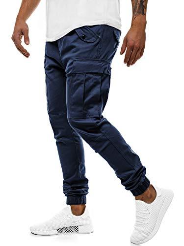 OZONEE Herren Chino Hose Chinos Lang Stoffhose Jogger Chinohose Pants Cargohose Cargo Freizeithose Arbeitshose Sporthose Slim Fit Regular Casual Stretch Taschen A/1005 DUNKELBLAU L