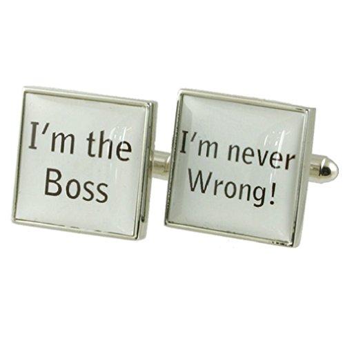 Boss Gestion Design lourde solide Argent sterling 925 Boutons de manchette + cadeau personnalisé Message Boîte à boutons de manchette