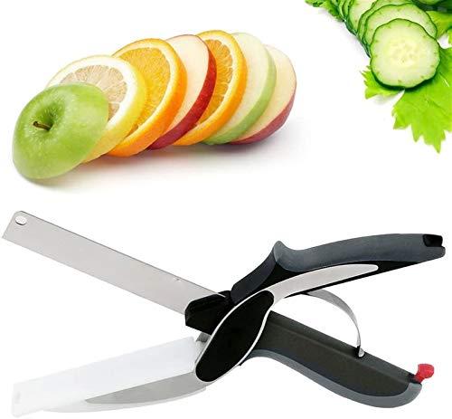 2-in-1Edelstahl Gemüseschneider und Küchenmesser mit Mini Schneidebrett für Salate Gemüse Fleisch Kartoffeln und Brot