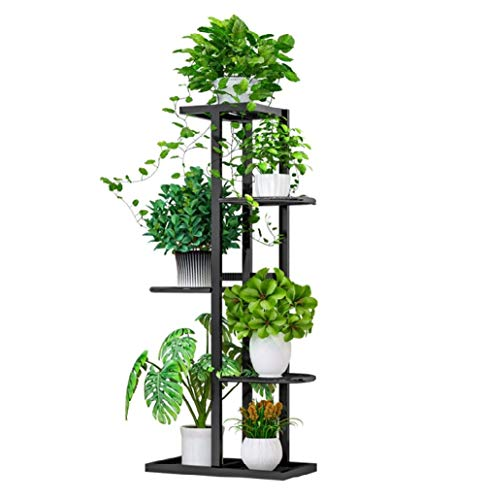 Flower Plant Stand Indoor 5 Tier Metal Plant Stand Flower Pots Stander Display Pots Holder (Black)