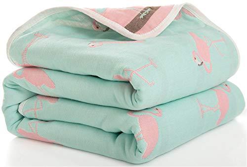Hayisugal Kinder Decke 6-lagig Babydecke aus 100% Baumwolle - kuschelige Baumwolldecke Ideal als Kinderwagendecke, Erstlingsdecke, Bettdecke oder Kuscheldecke, Flamingo, 120x150cm
