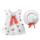 Julhold Bebé bebé niña linda frutas estampadas Princesa Casual vestido + sombrero, conjunto de ropa 0 – 3 años rojo 6-12 Meses