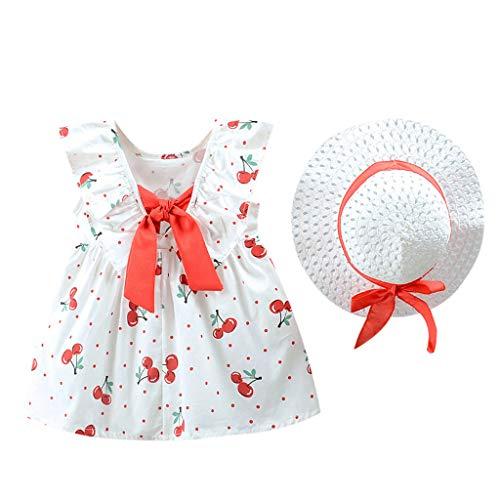 Julhold Bebé bebé niña linda frutas estampadas Princesa Casual vestido + sombrero,...