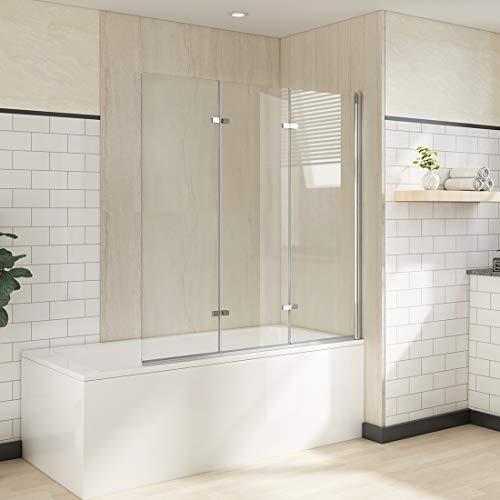 Heilmetz Badewannen Duschwand Duschabtrennung Badewannenaufsatz Faltwand 180° Duschtrennwand 6mm Nano ESG Sicherheitsglas (130x140cm, 3-teilig Faltbar | Chrom)