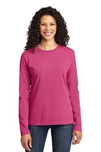 Port & Company Women's Long Sleeve 54 oz 100% Cotton T Shirt L Sangria