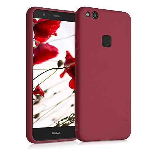 kwmobile Funda Compatible con Huawei P10 Lite - Carcasa de TPU Silicona - Protector Trasero en Rojo lacre