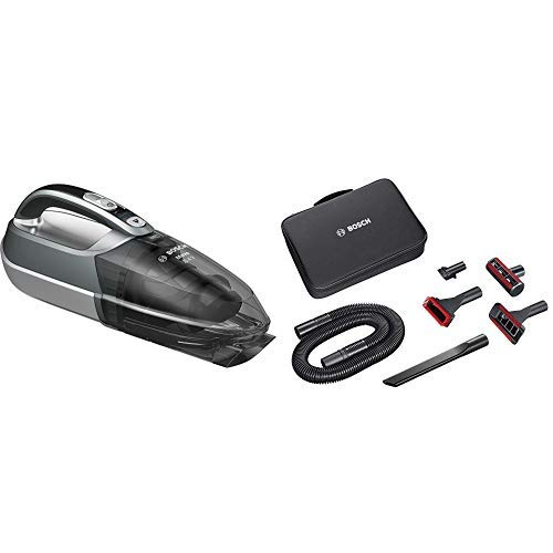 Bosch Move 20.4V Kabelloser Handstaubsauger BHN20110, schnelle Reinigung, hohe Reinigungsleistung, flexibel einsetzbar, 3-fach Filter, silber & BHZTKIT1 Zubehörset