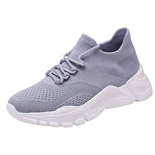 Women Mesh Comfortable Breathable Running Shoes Lace Up Simple Wild Casual Sneakers (Gray, 9)