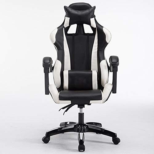 Gaming Chair BLTLYX Computer Gaming Verstelbare hoogte Gamer Draaibare armsteun Pc Thuiskantoor Internet Chair Zoals afgebeeld 4 Zwart wit nylon