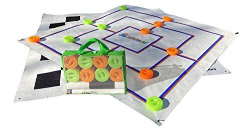 alldoro 60063 - XXL Mühle und Dame Spiel mit Tragetasche, 2 in 1 Outdoor Brettspiel mit 24 Spielsteinen mit Griff, 2 große Spielmatten ca. 158x158 cm, Gartenspiel für Kinder ab 3 Jahre und Erwachsene