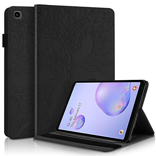 LUCASI - Funda para Samsung Galaxy Tab A de 8,0 pulgadas (piel sintética, tarjetero, tarjetero, soporte para bolígrafo), color negro
