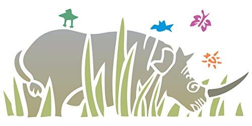 Rhino Schablone – 25,5 x 11,5 cm – wiederverwendbare Schablonen für Afrikanische Tiere, Tiere, Tiere, Tiere, Malen, für Papierprojekte, Scrapbooks, Wände, Böden, Stoff, Möbel, Glas, Holz usw.