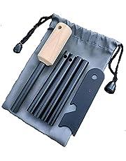 Survival Fire Starter Flint & Staal Striker voor BushCraft and Emergency, Firesteel Magnesium dat is 8 mm dik, waterdichte ferro staaf met aangepaste houten handvat en opslagtas,1+4