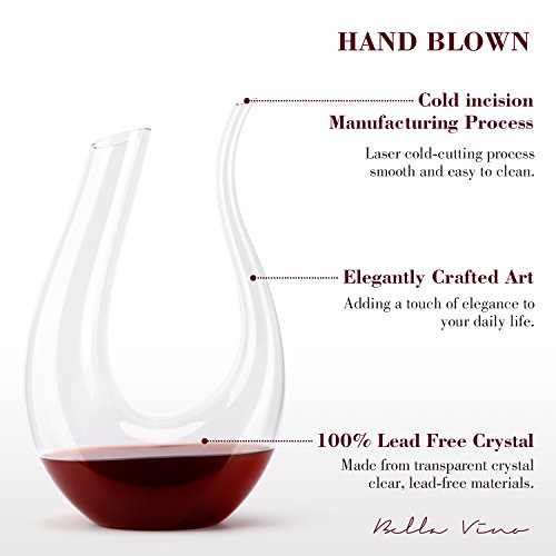 Wine Decanter by Bella Vino - 100% Lead Free Premium Crystal Glass Horn Decanter, Improves Wine Taste Smoother, Elegant and Effective Red Wine Carafe, Wine Accessories, Wine Gifts