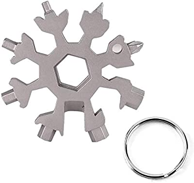 18-in-1 Stainless Steel Snowflakes Multi-Tool?Bottle Opener Flat Phillips Screwdriver Kit?Wrench Cool Father's Day Gift Christmas Present (Silver)