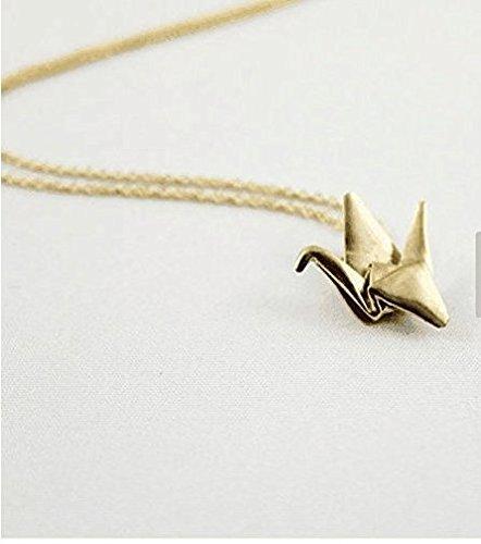 3D Schmuck, Origami Crane Halskette, Origami Schmuck, Origami Anhänger, ersten Jahrestag Geschenk, Gold Origami Halskette, Papier Jahrestag