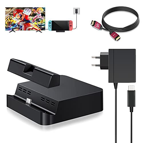 Antank Switch Dock Set Kompatibel Nintendo Switch mit TV Switch Docking Station, 2M 4K HDMI Kabel und 15V 2,6A Typ C Switch Ladekabel Kompatibel Nintendo Switch Dock