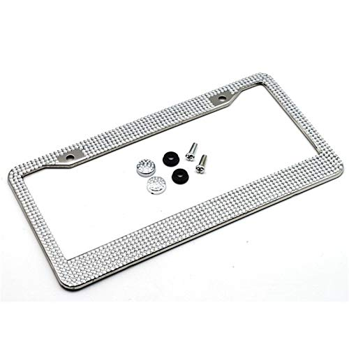 Car Stainless Steel License Plate Frame Holder Silver Diamond Bling Glitter Crystal Rhinestone for USA American Canada Truck Car Accessories (Color : White)