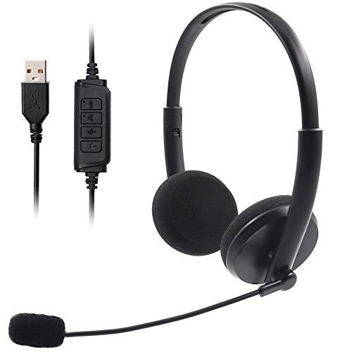 Auriculares de PC, Auriculares de Ordenador, Auriculares USB con micrófono Ajustable con cancelación de Ruido, Auriculares duraderos con conversación Clara para teléfono de conferencias (Black)