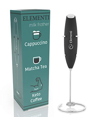 Elementi Milk Frother Handheld Electric Matcha Whisk, Handheld Milk Frother Electric Stirrer and Handheld Coffee Frother Mini Blender, Hand Frother Drink Mixer, Frappe Maker, Latte Machine Milk Foamer