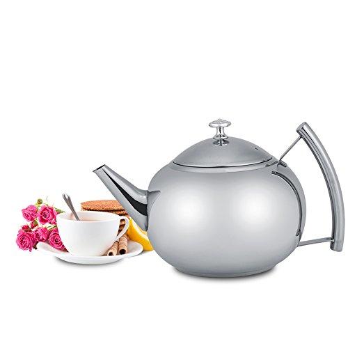 Tetera de tetera de acero inoxidable con filtro para Infusor extraíble para hojas sfuse y bolsitas de té, 2litros