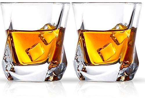 Cooko Bicchiere di whisky, Set di Vetro in Cristallo di Lusso, Priva di Piombo Chiarezza Glass, Set di Vino da 2 Bicchieri per Vino, Cocktail o Succo di Frutta ( 250ml/8.8oz)