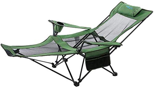 FADDR Acampar Silla Plegable Silla portátil para Trabajo Pesado sillón reclinable con el Sitio de la Mochila Silla de Playa Plegable Ultra Externa reposapiés (Color, Escarlata),Verde
