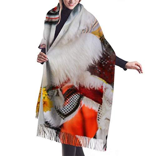 Bufanda larga con flecos de 27'x77, bufanda de desfile de año nuevo chino de León bailarín para mujeres, chales y abrigos, manta cálida grande y elegante