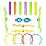 15 Pack Giocattoli da Immersione Sott'Acqua - 6X Bastoncini per Immersione, 4X Anelli da Immersione, 4X Alghe Subacquee Dive Balls, 1x Occhialini da Nuoto - Giochi per Piscina per Bambini