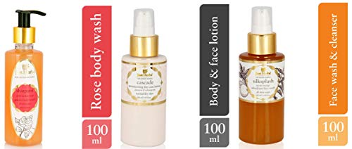 Just Herbs Body Lotion, Shatpatri Wild Indian Rose Gentle Body Wash and Silk Splash Neem-Orange Rehydrant Ayurvedic Face Wash