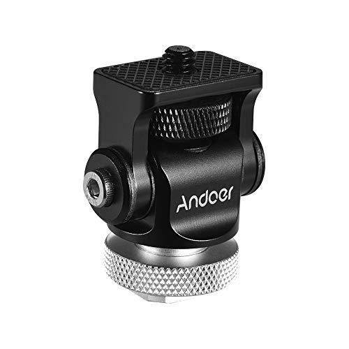 Andoer 180 ° Rótula Adaptador de Montaje de Zapata de Flash Caliente Tornillo de 1/4 Pulgada con Llave para cámara DSLR Micrófono LED (Plata)