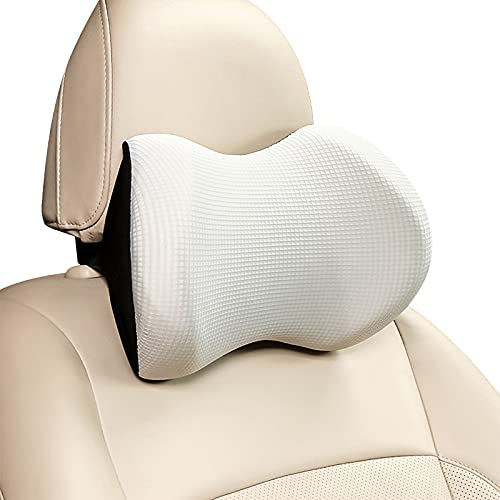 Hitish Car Neck Pillow, Ergonomic Design Headrest Neck Support Car Pillow for Cervical Pain Relief, Soft Memory Foam Travel Pillow for Driving Gaming Resting in Car and Office