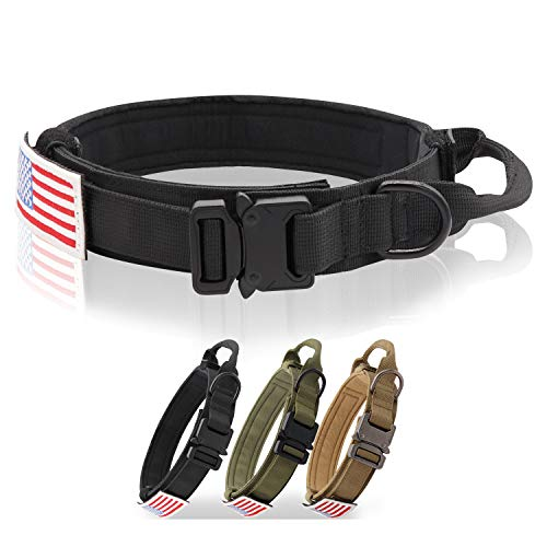Tactical Dog Collar Adjustable Military K9 Collar with Handle Heavy Duty Metal Buckle 1.5' Width Nylon Dog Collar